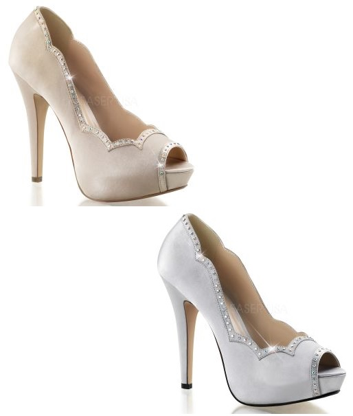 pleaser 05 satin high heel peep toe platform shoes